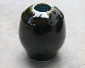 Ceramic Pottery Wheel Thrown black and light blue porcelain Vase