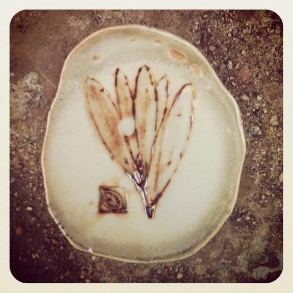 Ceramic Porcelain hand made tea bag holder  with olive  leaf  embossed.