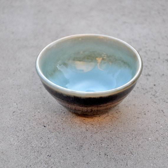 Wheel Thrown Porcelain Petite Blue and Black Bowl