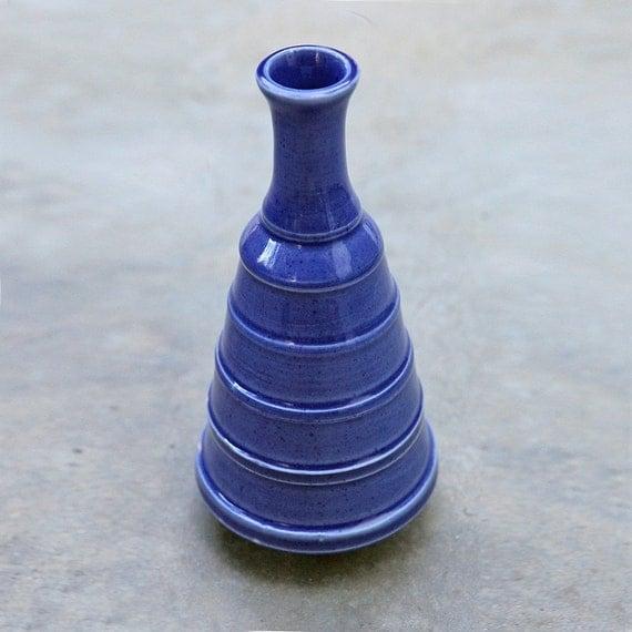 Ceramic Pottery Wheel Thrown Blue Porcelain Vase
