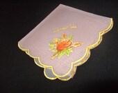Vintage Hankie Sheer Organza Souvenir Wausua, Wisconsin Pink w/ Rose
