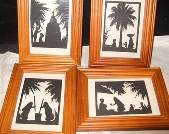 4 Paper Silhouettes Vintage 1930'S Folk Art Framed Paper Silhouettes INDIA Palm Tree Temple