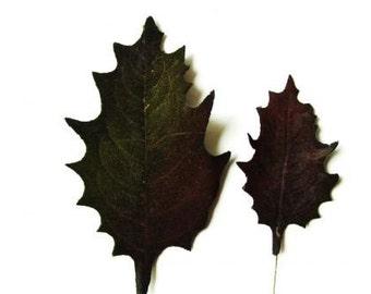"Vintage Millinery Oak Leaves Flower Plum BLACK Velvet LARGE 4"" wired DIY Flower Crown Supply"