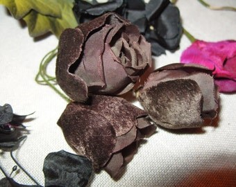 Vintage Millinery Flower Roses 1940's Chocolate Brown VELVET Satin Hat  Corsage Supplies