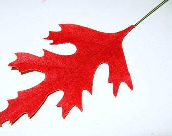 "Vintage Millinery Flower 4 1/4"" RED Velvet Oak Leaves Wreath Craft Trim Hat Millinery Supply"