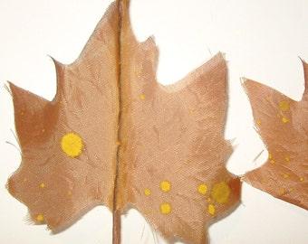 Vintage 1940's MILLINERY FLOWER  Maple Leaves Sheer Organza Fabric Toast Brown
