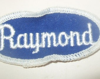 Vintage Name Patch RAYMOND Blue Hat Jacket Mechanic Trucker Embroidered Rockabilly Punk