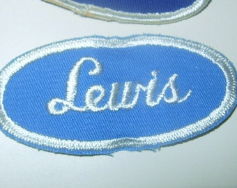Vintage Embroidered Rockabilly Punk Name Patch LEWIS Blue Hat Jacket Mechanic Trucker