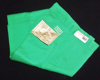 Vintage Colored Jeans Bright GREEN Western Pant size Small 5 6 26x36 long tall NOS