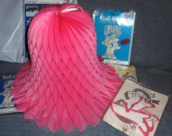 Vintage Beistle Honeycomb Crepe Tissue Paper Bells CLUSTER of 4  Dusty Rose PINK wedding bells