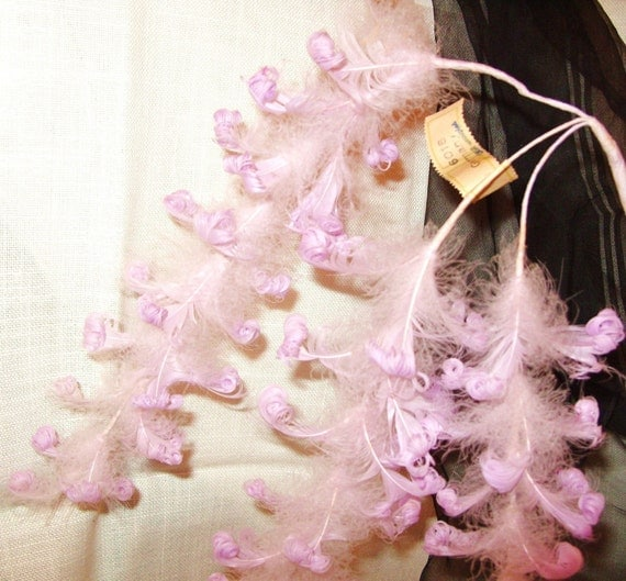 Vintage 1940'S Germany Millinery Supply Feather Flower Plume Purple/Lavender