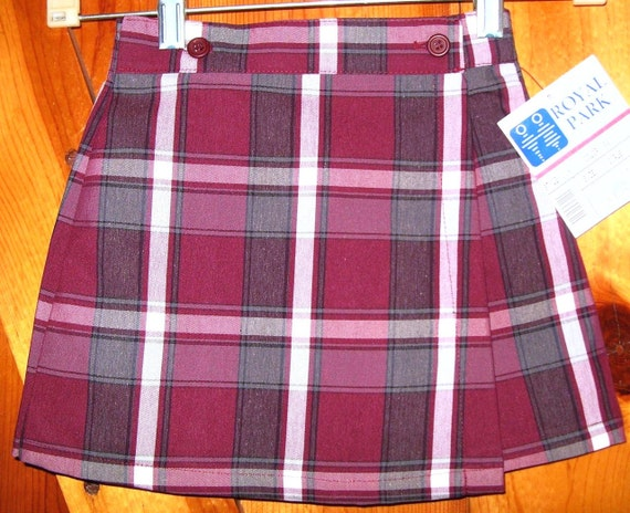 Vintage Plaid Skirt Catholic School Girls 3 T toddler  Uniform Wrap Skort Wine Gray