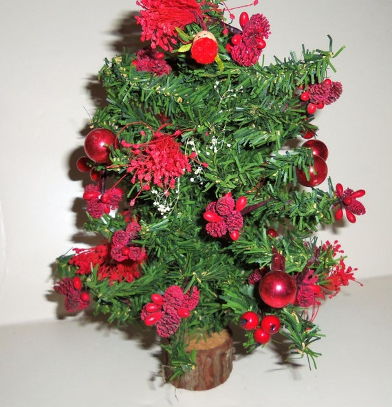 Vintage table top christmas tree millinery flowers mercury