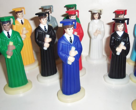 Graduation Cake Topper Vintage Boys Girls Latina Black By