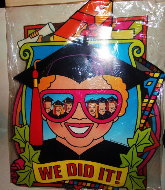 Vintage Graduation Party Decor Cut-Out Paper Cardboard Poster Table Centerpiece BEISTLE 4 - 16 inch