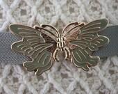 VTG 70s enamel Butterfly grey Belt gold buckle sea-foam Green