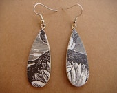 Reserved for Ximi - Ashes and Ghosts Earrings - Tear Shaped - Decoupaged Wood - One of a Kind jewelry