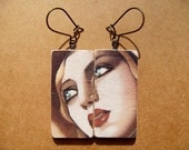 Reserved for Elen - De Lempicka Earrings - Decoupaged Mini Wooden Dominoes - One of a Kind Jewelry - Recycled Upcycled