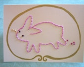 hand stitched Happy Bunny card