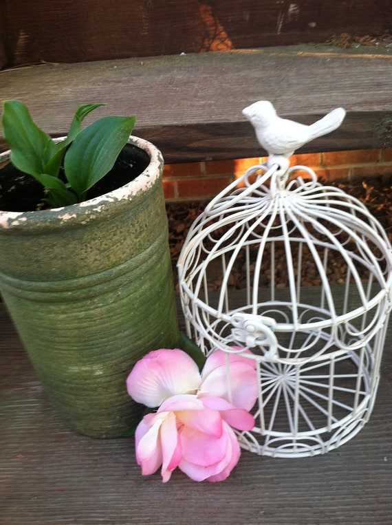 Shabby Chic small Antique White Bird Cage