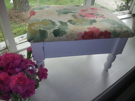 Vintage Upcycled FootStool -Shabby Chic - ShippIng NoT inCluded