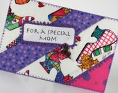 Mothers Day Quilted Fabric Postcard - A Special Mom