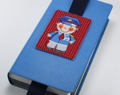 ACEO Quilted Fabric Child's Bookmark Policeman Back to School