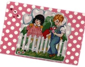Valentine Quilted Fabric Postcard - Vintage Style - Young Love