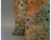 Set of Two Bright Colorful Floral Throw Pillows - Dreamy 1970s