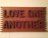 Vintage LOVE ONE ANOTHER Wood Carved Wall Sign