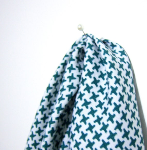 Vintage Green and White Cross Check Scarf - Head Band Kerchief