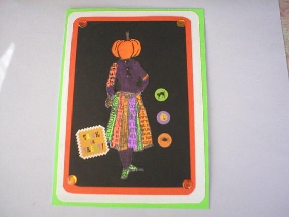 Halloween Card, Pumpkin Lady Halloween Card, Pumkin Head,  Happy Halloween,  Unique, Handmade Card, n