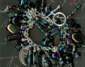 Twilight bracelet Moon bracelet Midnight star charm bracelet Moon charm JunQueJules Halloween bracelet star bracelet cha cha charm bracelet