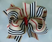 New----Big Boutique Doubled Layered Hair Bow Clip------Tan Black White Red Stripes
