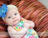 Boutique Baby Toddler Girl Crochet Headband with Jeweled Gerber Daisy Clip----Fits 2 Months and Up------You Pick Colors