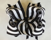 Big Boutique Doubled Layered Hair Bow Clip------Big Black and White Stripes----
