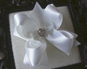 Big Boutique Satin Doubled Layered Hair Bow Clip with Rhinestones---WHITE---Material Girl