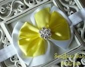 SUPER SALE----Boutique Satin Rhinestone Bow Headband-----Lemony Fresh