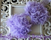 NEW----Boutique Baby Girl Headband with Pearl Frayed Chiffon Bow----Lavender----Romantic Couture-----FREE SHIPPING