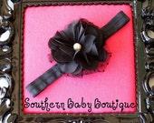 NEW ITEM----Boutique Baby Girl Toddler Chiffon Puff Flower Headband-----Black-----Photo Prop