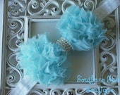 INVENTORY BLOWOUT SALE----Boutique Baby Girl Headband with Pearl Frayed Chiffon Bow----Sky Blue---Romantic Couture-----