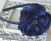 NEW----Rhinestone Flower Arched Headband-----Navy Blue---