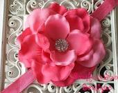 NEW----Boutique Baby Girl Toddler Rhinestone Flower Headband-----Hot Pink-----Photo Prop----