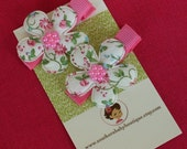 NEW ITEM----Boutique Baby Girl Toddler Clippies-----Cottage Flowers-----COUNTRY Flowers----Set of 2
