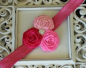 NEW ITEM----Boutique Baby Girl Headband with Rose Trio----PINKS----Satin Glam Collection