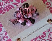 NEW ITEM------Boutique Loopy Hair Bow Clip------Pink and Brown Plaid with Pearls--------