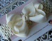 NEW----Boutique Baby Toddler Girl Hair Bow Clip with Crochet Headband----Cream----FREE SHIPPING