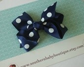 NEW ITEM------Boutique Large Hair Bow Clip-----Polka Dots-----Navy Blue