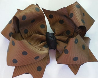 Big Boutique Doubled Layered Hair Bow Clip------Milk Chocolate Brown with Black Dots