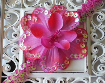 Boutique Baby Girl Toddler Soft Stretch Sequin Headband Sequin Flower-----HOT PINK----